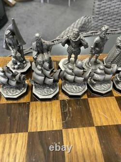 The Armada Chess Set By The Danbury Mint Pewter With Board/storage Box