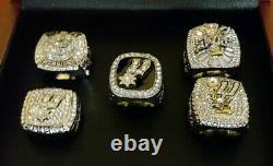 Tim Duncan San Antonio Spurs 5 Championship Ring Set With Wooden Display Box