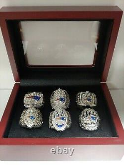 Tom Brady New England Patriots 6 Super Bowl Ring Set With Wooden Display Box