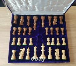 Unique Wooden Chess Set Large Carved Pieces 32pcs Boxed No Board
