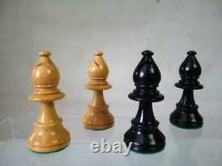 VINTAGE CHESS SET BY JAQUES STAUNTON PATTERN K 75 mm + ORIG BOX AND BOARD