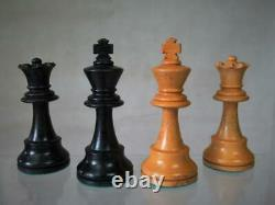 VINTAGE CHESS SET FRENCH LARDY WEIGHTED STAUNTON K 85 mm + ORIG BOX NO BOARD