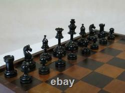 VINTAGE CHESS SET FRENCH STAUNTON ROZ OR CHAVET K 70 mm AND BOX NO BOARD