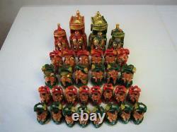VINTAGE CHESS SET LARGE POLYCHROME AMBAWARI INDIAN K 120 mm AND ORIG BOX