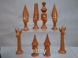 VINTAGE FINE AFRICAN MAKONDE CHESS SET Q 11 cm EST AFRICA AND ORIG BOX