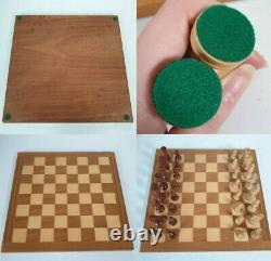 VINTAGE LARGE 14 x 14 WOODEN CHESSBOARD CHESS PIECE SET WITH BOX COMPLETE