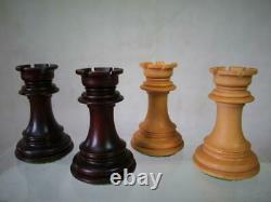 VINTAGE OR MODERN CHESS SET ROSE WOOD STAUNTON PATTERN K 108 mm + BOX NO BOARD