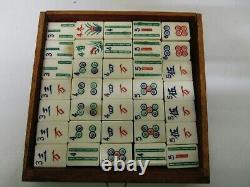 Vintage 1920's Bone & Bamboo Mah Jong Tile Set in Wooden Box