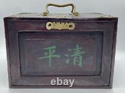 Vintage 1920s Mahjong Bone & Bamboo Full Set In Wooden Box 144 Tiles, 120 Sticks