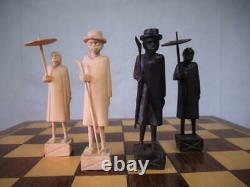 Vintage African Chess Set And Large Compedium Games Box Madagascar Merina Tribe