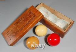 Vintage/Antique 2-3/8 Carom Billiard Set with Wooden BBC Box (b-11)
