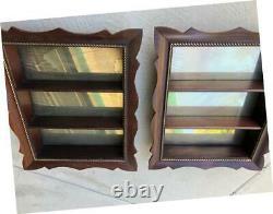 Vintage Antique 3-Shelf Real Wood Mirrored Display Shadow Box Set of 2