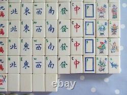 Vintage Bone / Bamboo Mah Jong Set In A Sorrento Wooden Puzzle Box Mah Jongg