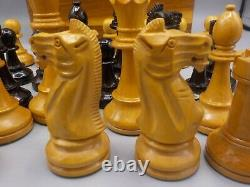 Vintage Carved Wood Chess Pieces Set withWalnut Box Staunton France or Repro 4.25