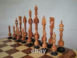 Vintage Chess Set Huge Indian Vizacapatam Wood K 9 And Box No Board
