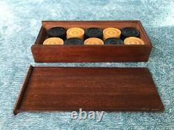 Vintage Draughts Set Of Wooden Draughts Playing Pieces in Beautiful Wooden Box
