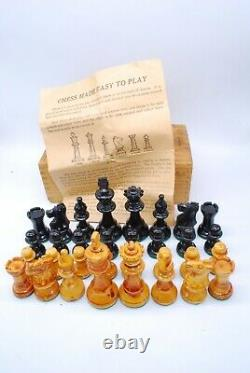 Vintage Drueke Wood Chess Set in a Wooden Box with Instructions, King is 3