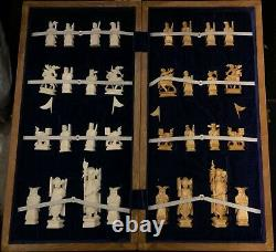 Vintage Hand Carved Ivory Colored Chess Set Game with Wood Box Board