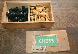 Vintage Jacques Staunton Chess Set Complete Weigtd Baized & Boxed Big King 8.5cm