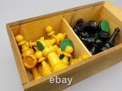Vintage Lardy France Staunton Wood Chess Set Weighted Bases 3.5 King withBox