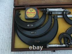 Vintage Set Starrett 0-6 Micrometer Set #436 With S & W Wooden Box