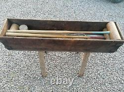 Vintage Wooden Croquet Set BOXED with metal Handles