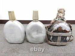 WW2 II Japanese Military Soldier's Bag, Canteen, Knee guard, Wooden Box set-c1002