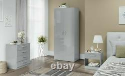 Wardrobe + Chest of Drawers + Bedside Home Trio Bedroom Gloss Furniture Set