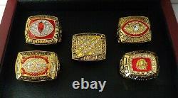 Washington Redskins 5 Championship Ring Set W Wooden Box Riggins Manley Rypien