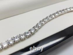 White gold finish bracelet & earrings set comes in luxury wooden box