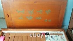 Wooden Boxed Vintage Chinese Mahjong Mah Jong Set And Betting Sticks