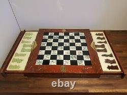 Wooden Vintage Chinese Oriental Chess Set Carved Box Resin Figures 2 Drawers